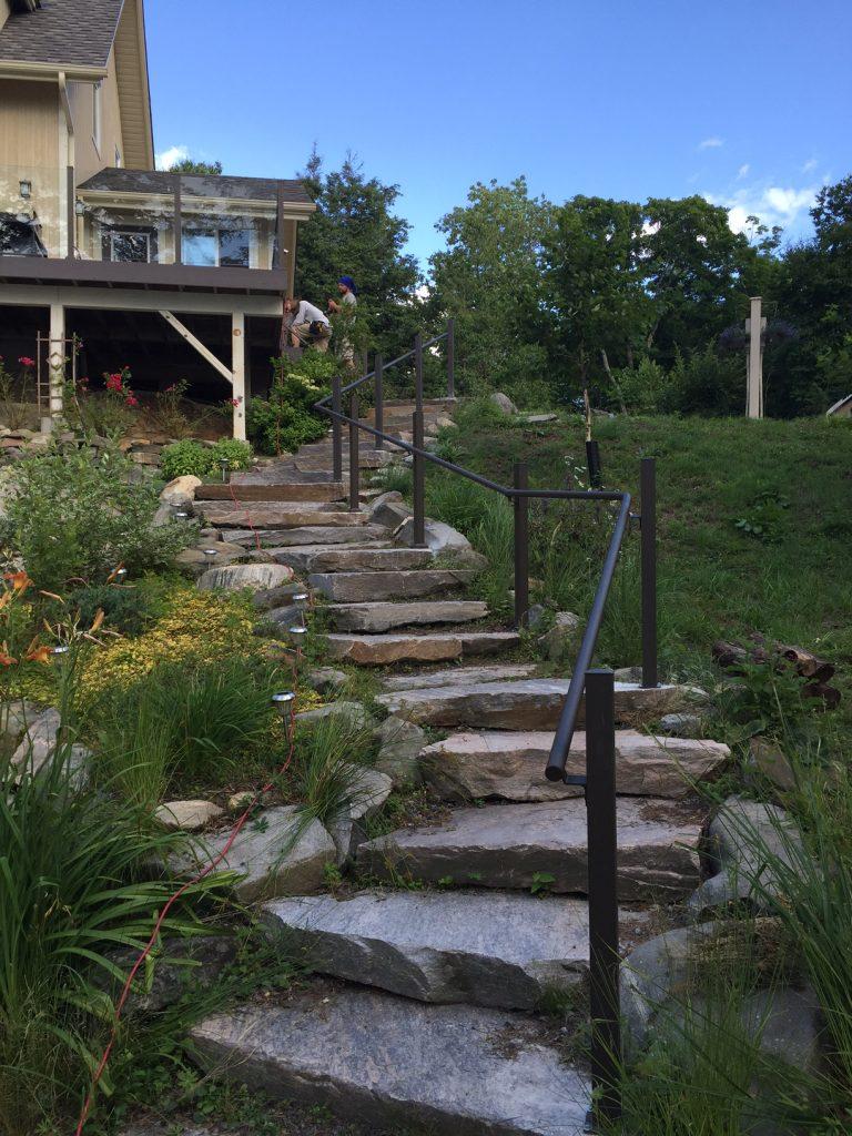 backyard pipe handrail