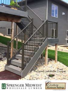 Homeowner Project  Style Used: Picket Railings Color: Lakeside Copper Location: Sioux Falls, SD.Matt used Century Aluminum Railings on his Ranch-style walkout single-family home located on the Southeast side of Sioux Falls.   For Matt and his wife, the #1 reason they chose Century Aluminum Railings was low maintenance.   Since South Dakota is known for harsh winters and hot, humid summers, they were looking for a railing that would hold up year after year without maintenance. That's why their contractor recommended the picket-style railings from Century Aluminum Railings.   The railing installation took a matter of hours with the contractor noting how easy the installation process was and helped them save time on the jobsite. Contributor: Sprenger Midwest